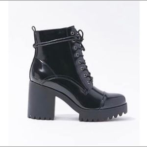 Black faux patent leather heeled ankle boots